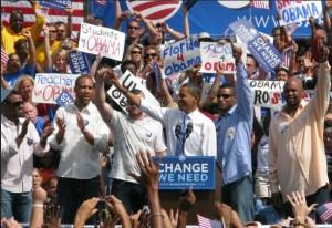 mostly non-white Obama crowd