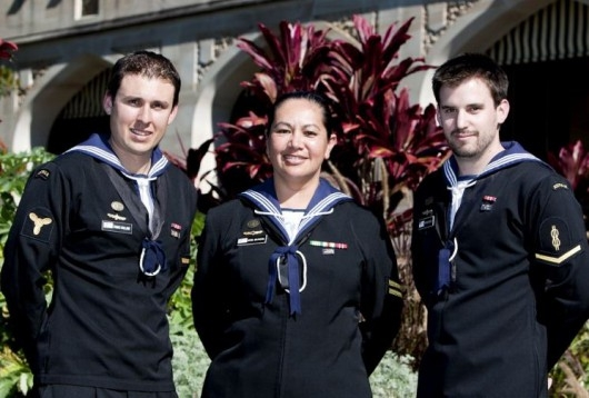 Brave today, cream puffs tomorrow? Three Australian Navy sailors receive a Group Citation for Bravery, May 10, 2012. (Image source: Royal Australian Navy)
