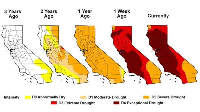 The progression of the Palmer Drought Severity Index for California over the past three years. Source: U.S. Drought Monitor